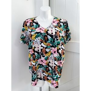 Lane Bryant Floral Ruffle Short Sleeve Top